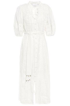 ZIMMERMANN فستان متوسط الطول من قماش الرامي والدانتيل المخرّم مزين بشراشيب