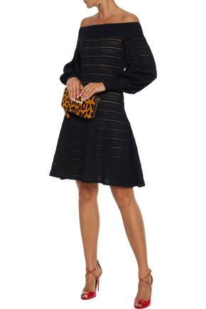 Oscar De La Renta Dresses OSCAR DE LA RENTA WOMAN OFF-THE-SHOULDER POINTELLE-KNIT DRESS BLACK