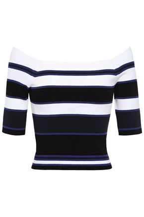 AUTUMN CASHMERE Off-the-shoulder striped ribbed-knit top
