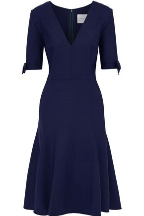 CAROLINA HERRERA Flared bow-embellished wool-blend dress