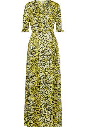 BAUM UND PFERDGARTEN Adelita leopard-print silk-jacquard maxi wrap dress