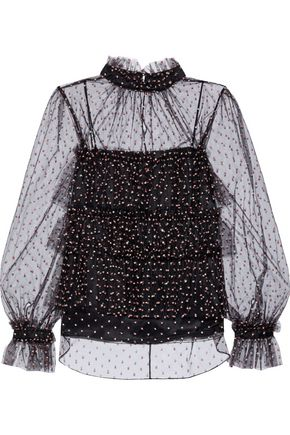 ADAM LIPPES Tiered metallic embroidered tulle blouse