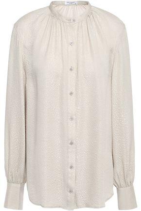 EQUIPMENT Gathered silk-jacquard shirt