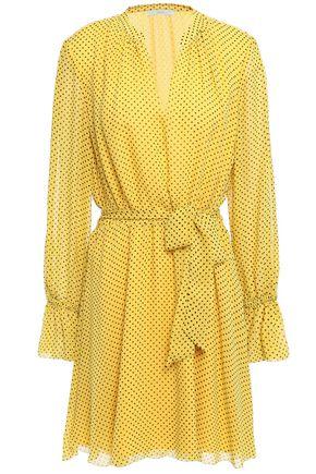 JOIE Belted polka-dot silk-chiffon mini dress