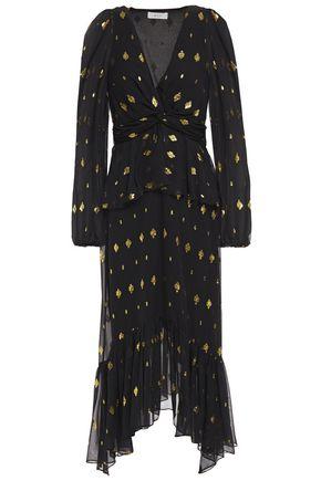 A.L.C. Twisted metallic fil coupé silk-blend midi dress