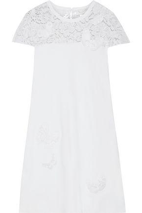 VALENTINO Appliquéd corded lace-paneled ponte mini dress