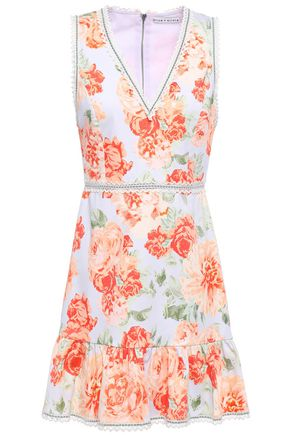 ALICE + OLIVIA Kirean ruffled floral-print stretch-cotton mini dress