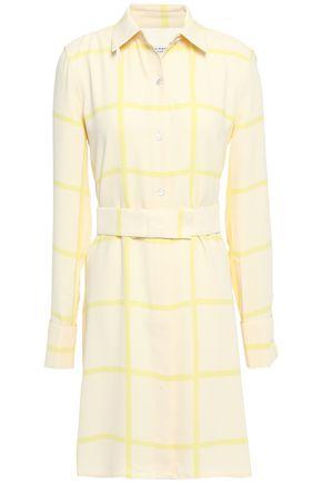 EQUIPMENT فستان قصير على شكل قميص من الكريب بنقش مربعات مزوّد بحزام