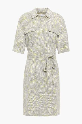 EQUIPMENT Axelle belted printed crepe dress