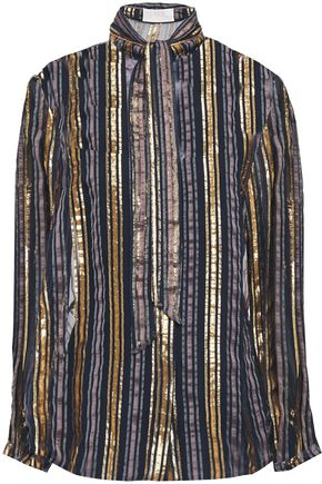 PETER PILOTTO Tie-neck metallic striped silk-blend chiffon blouse