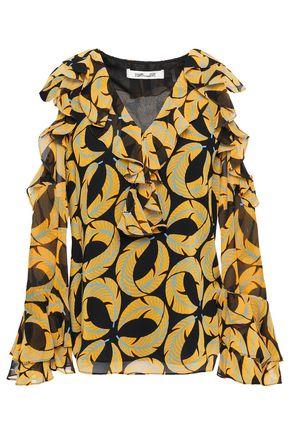 DIANE VON FURSTENBERG Cold-shoulder ruffled printed georgette blouse