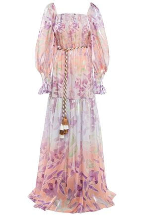 PETER PILOTTO Belted tassel-trimmed floral-print organza gown