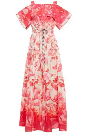PETER PILOTTO Cold-shoulder tiered printed cotton-poplin maxi dress