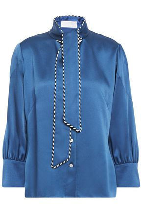 PETER PILOTTO Pussy-bow satin-crepe blouse