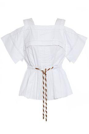 PETER PILOTTO Cold-shoulder pleated cotton-poplin blouse