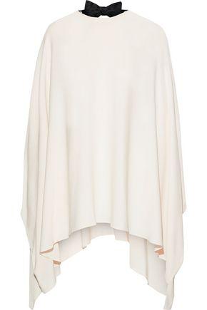 VALENTINO Cutout draped bow-embellished silk crepe de chine blouse