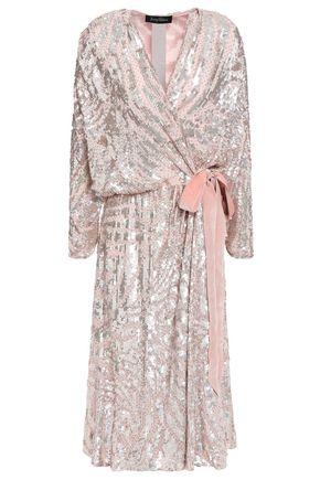 JENNY PACKHAM Embellished velvet-trimmed georgette wrap dress