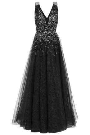 JENNY PACKHAM 装飾付き グリッター加工チュール ロングドレス