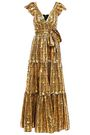 TEMPERLEY LONDON Ruffled tiered printed metallic fil coupé maxi gown
