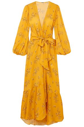 JOHANNA ORTIZ Exotic Pitaya floral-print silk-satin maxi wrap dress