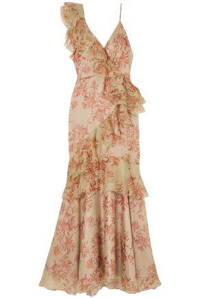 """JOHANNA ORTIZ فستان """"بيل أوف ذي بول"""" من الأورغنزا الحريري المطبع بالورود مع كشكش"""