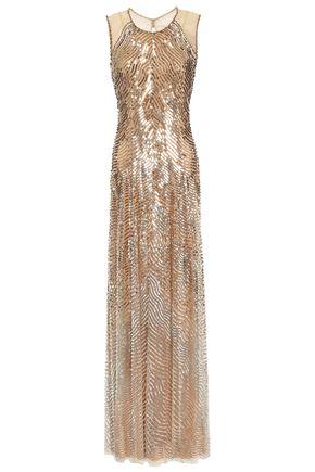 JENNY PACKHAM 装飾&スパンコール付き チュール ロングドレス