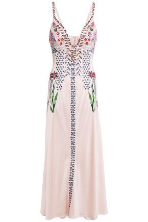 TEMPERLEY LONDON Finale embroidered embellished satin-crepe midi slip dress