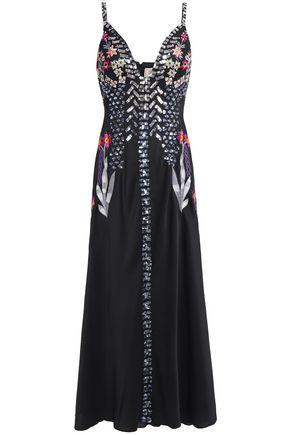 TEMPERLEY LONDON 刺繍入り 装飾付き サテンクレープ ミディスリップドレス