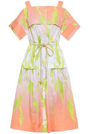 PETER PILOTTO Cold-shoulder flared floral-print cotton-poplin dress