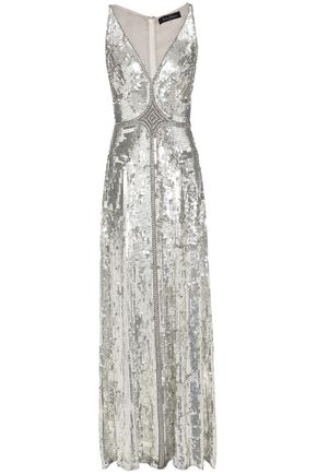 JENNY PACKHAM Embellished sequined silk gown