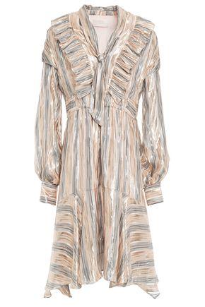 PETER PILOTTO Ruffled metallic striped silk-blend dress