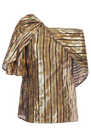 PETER PILOTTO Draped metallic striped silk-blend chiffon top