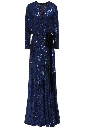 JENNY PACKHAM 装飾付き ジョーゼット ラップロングドレス