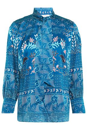 PETER PILOTTO Tie-neck printed hammered silk-blend satin blouse