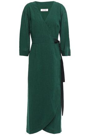 CEFINN فستان ملتف متوسط الطول من الفوال مزين بقماش غروسغراين