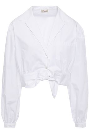 TEMPERLEY LONDON Cropped knotted cotton-poplin shirt