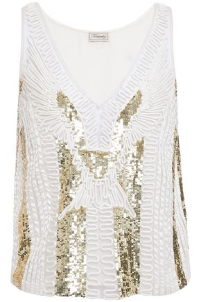 TEMPERLEY LONDON Embellished tulle and satin-twill camisole