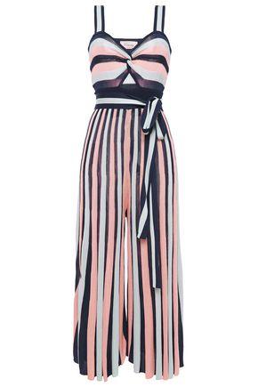 TEMPERLEY LONDON جمب سوت بأرجل واسعة وبتصميم متشابك محبوك بطريقة إنتارسيا ومخطط وبأجزاء مقصوصة