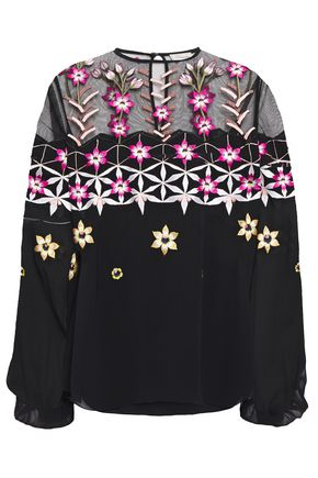 TEMPERLEY LONDON Tulle-paneled embroidered georgette blouse