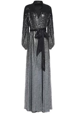 JENNY PACKHAM スパンコール付き サテントリム シルクジョーゼット ロングドレス