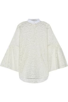 VALENTINO Piqué-trimmed cotton-blend corded lace blouse