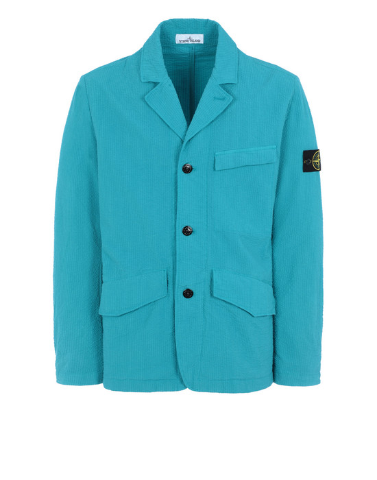 STONE ISLAND 80141 SEERSUCKER CO-TC Suit Man Turquoise