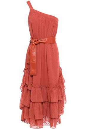 MARISSA WEBB One-shoulder belted tiered fil coupé woven midi dress