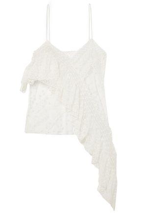 PHILOSOPHY di LORENZO SERAFINI Asymmetric ruffled embroidered tulle camisole