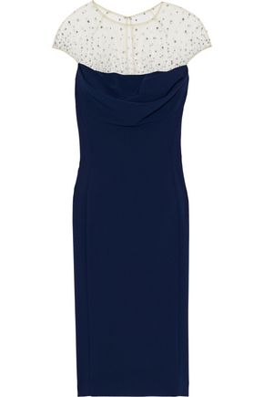 JENNY PACKHAM Crystal-embellished tulle-paneled stretch-cady dress