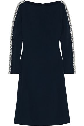 JENNY PACKHAM Crystal-embellished tulle-trimmed stretch-cady dress