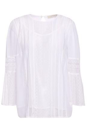 MICHAEL MICHAEL KORS Lace-paneled stretch-georgette blouse