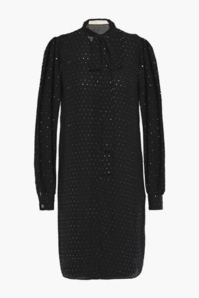 MICHAEL MICHAEL KORS Pussy-bow layered crystal-embellished georgette mini dress