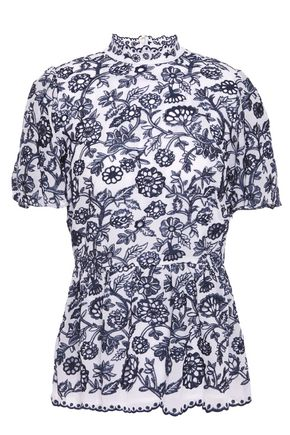 MICHAEL MICHAEL KORS Gathered embroidered georgette peplum blouse