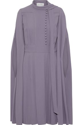 VALENTINO Cape-back button-detailed crepe dress
